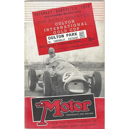 1954 Oulton Park The Daily Dispatch Oulton International Gold Cup Meeting (07/08/1954) motor racing programme & Event Ticket