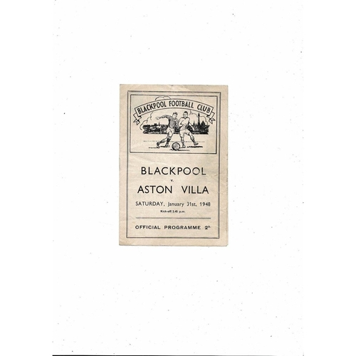 1947/48 Blackpool v Aston Villa Football Programme
