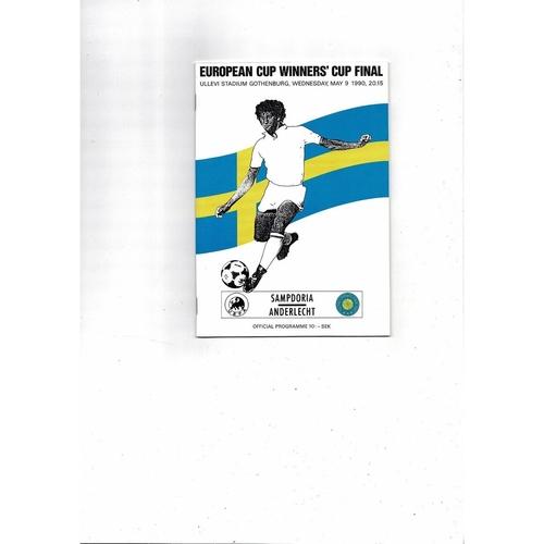 1990 Sampdoria v Anderlecht European Cup Winners Cup Final Football Programme