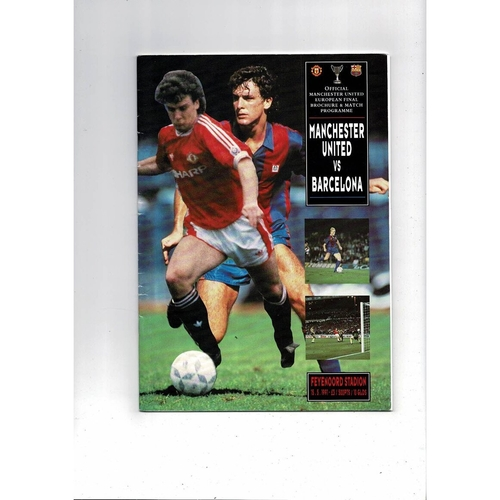 1991 Manchester United v Barcelona European Cup Winners Cup Final Football Programme United Edition