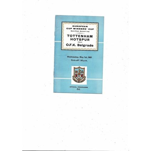 1962/63 Tottenham Hotspur v OKF Belgrade European Cup Winners Cup Semi Final Football Programme