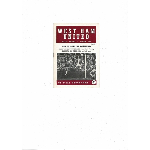 1965/66 West Ham United v Borussia Dortmund European Cup Winners Cup Semi Final Football Programme