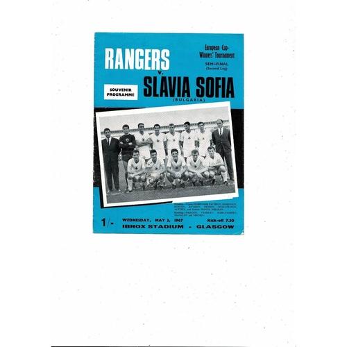 1966/67 Rangers v Slavia Sofia European Cup Winners Cup Semi Final Football Programme