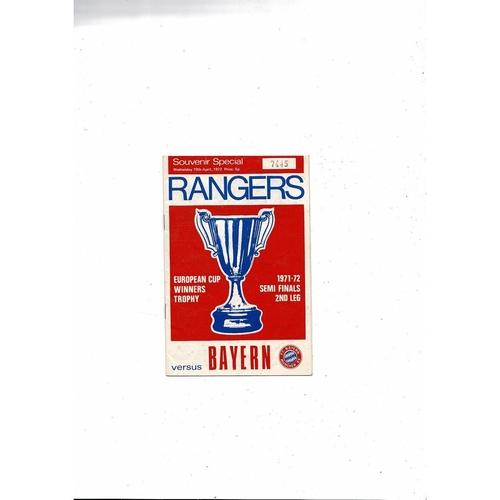 1971/72 Rangers v Bayern Munich European Cup Winners Cup Semi Final Football Programme