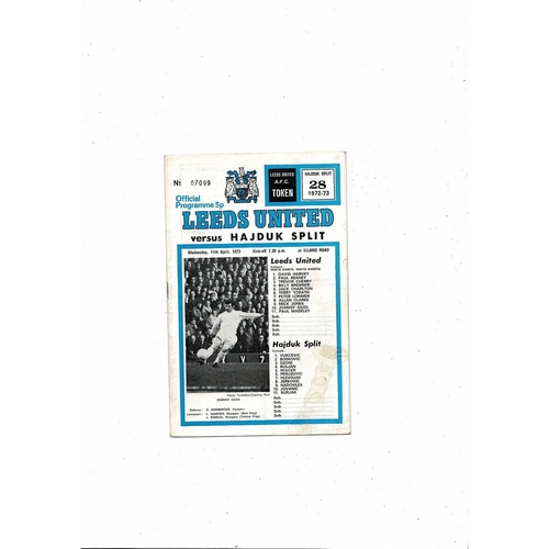 1972/73 Leeds United v Hajduk Split European Cup Winners Cup Semi Final Football Programme