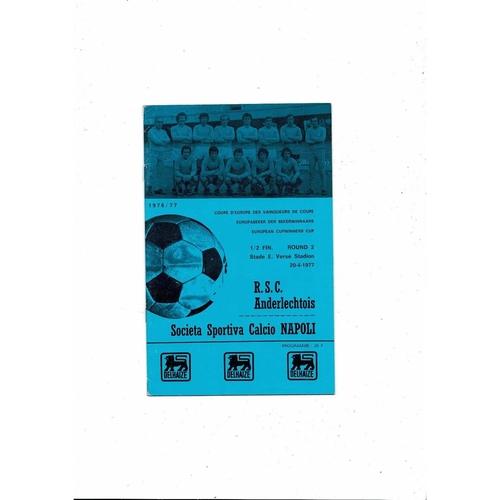 1976/77 Anderlecht v Napoli European Cup Winners Cup Semi Final Football Programme
