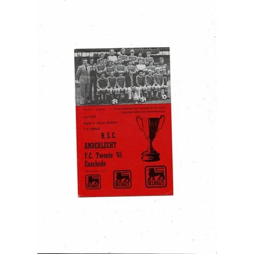 1977/78 Anderlecht v Twente European Cup Winners Cup Semi Final Football Programme