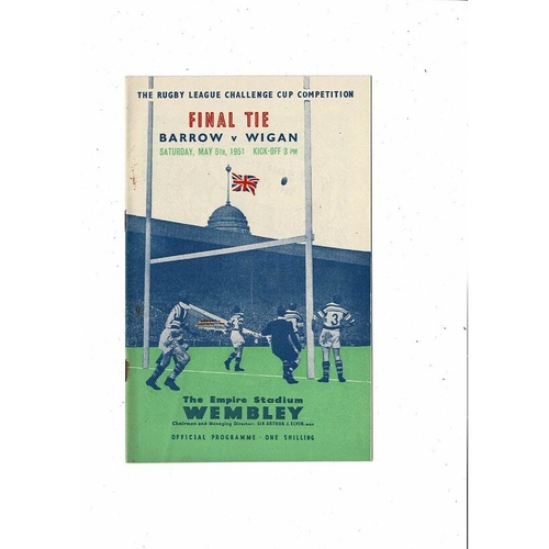 1951 Barrow v Wigan Rugby League Challenge Cup Final Programme