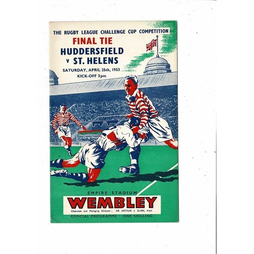 1953 Huddersfield v St. Helens Rugby League Challenge Cup Final Programme