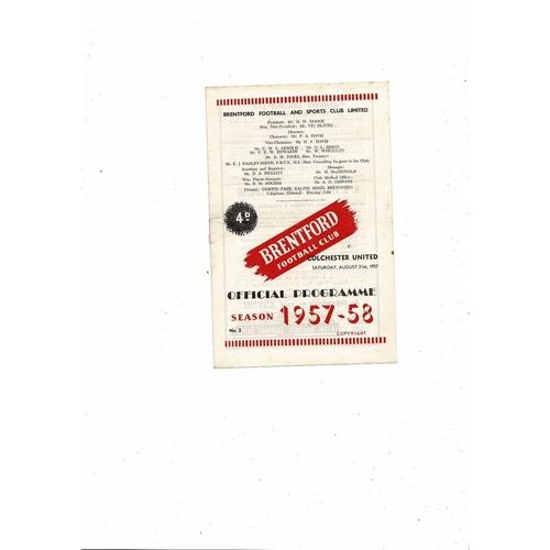 1957/58 Brentford v Colchester United Football Programme