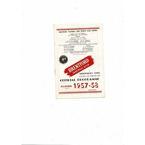 1957/58 Brentford v Shrewsbury Town Football Programme