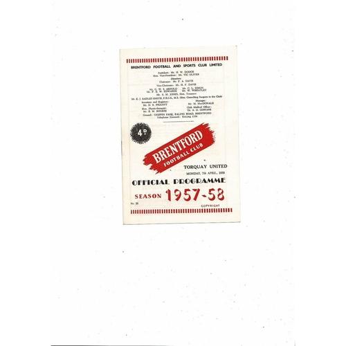 1957/58 Brentford v Torquay United Football Programme
