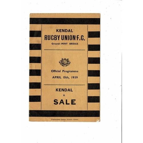 1938/39 Kendal v Sale Rugby Union Programme