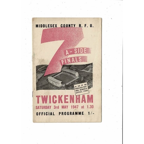 1947 Middlesex Sevens Rugby Union Programme