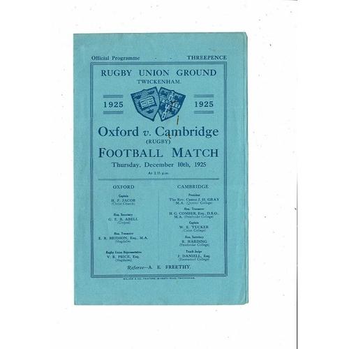 1925 Oxford v Cambridge Varsity Match Rugby Union Programme