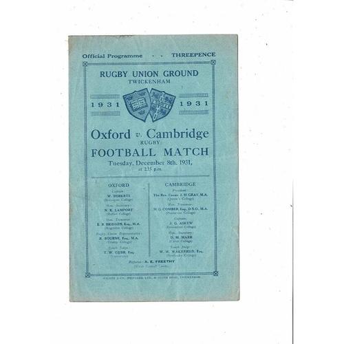 1931 Oxford v Cambridge Varsity Match Rugby Union Programme