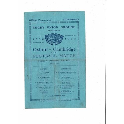 1932 Oxford v Cambridge Varsity Match Rugby Union Programme
