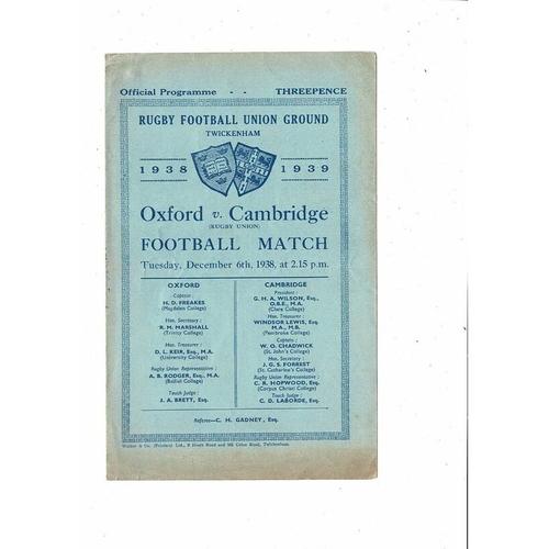 1938 Oxford v Cambridge Varsity Match Rugby Union Programme