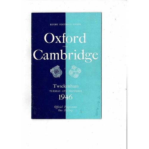 1946 Oxford v Cambridge Varsity Match Rugby Union Programme