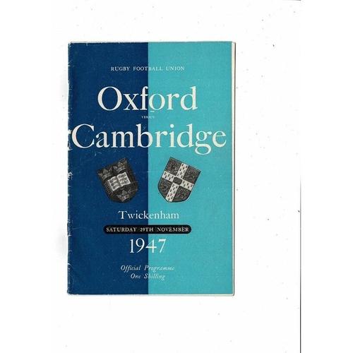 1947 Oxford v Cambridge Varsity Match Rugby Union Programme