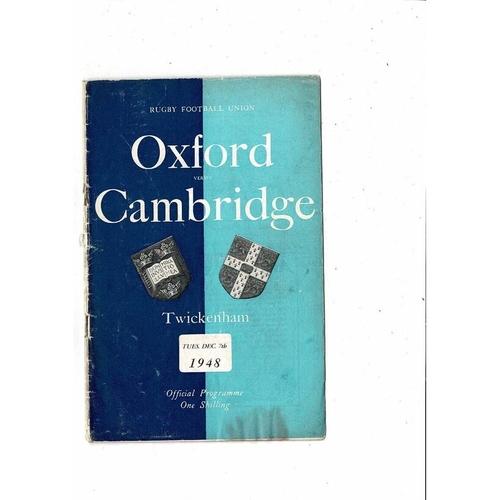 1948 Oxford v Cambridge Varsity Match Rugby Union Programme