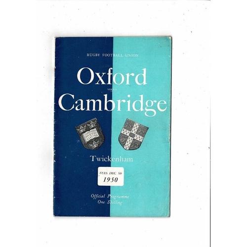 1950 Oxford v Cambridge Varsity Match Rugby Union Programme