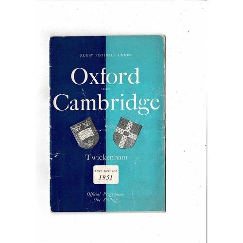 1951 Oxford v Cambridge Varsity Match Rugby Union Programme