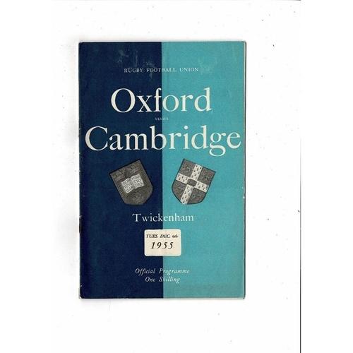 1955 Oxford v Cambridge Varsity Match Rugby Union Programme