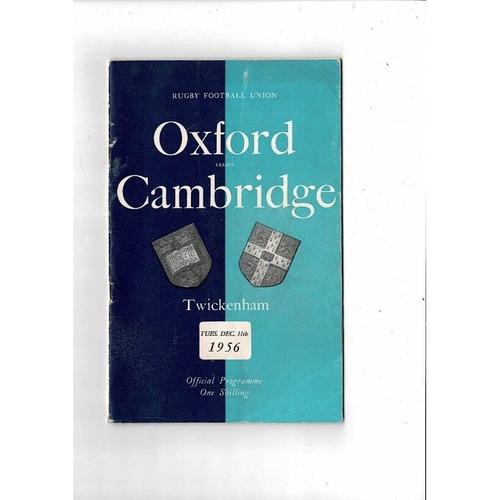 1956 Oxford v Cambridge Varsity Match Rugby Union Programme