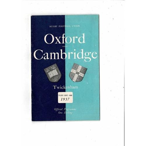 1957 Oxford v Cambridge Varsity Match Rugby Union Programme