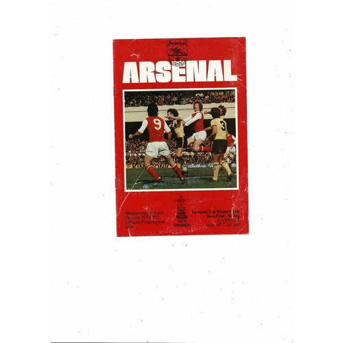 1979/80 Arsenal v Juventus European Cup Winners Cup Semi Final Football Programme