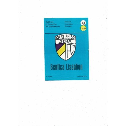 1980/81 Carl Zeiss Gena v Benfica European Cup Winners Cup Semi Final