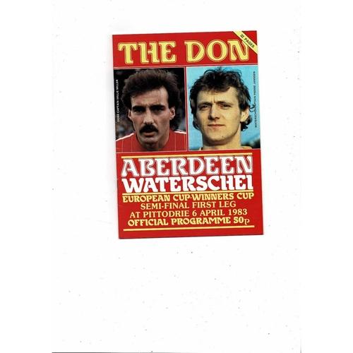 1982/83 Aberdeen v Waterschel European Cup Winners Cup Semi Final Football Programme