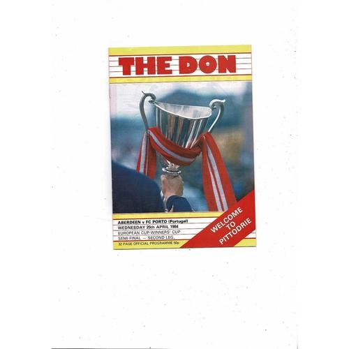 1983/84 Aberdeen v Porto European Cup Winners Cup Semi Final Football Programme