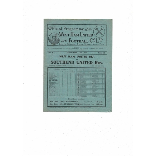 1937/38 West Ham United v Southend United London Combination Football Programme