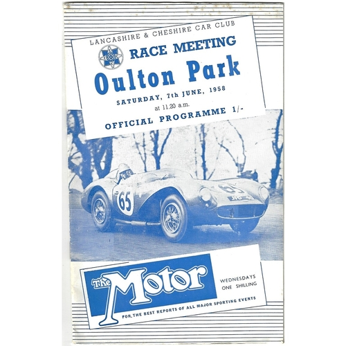1958 Oulton Park Lancashire & Cheshire Car Club Race Meeting (07/06/1958) motor racing programme