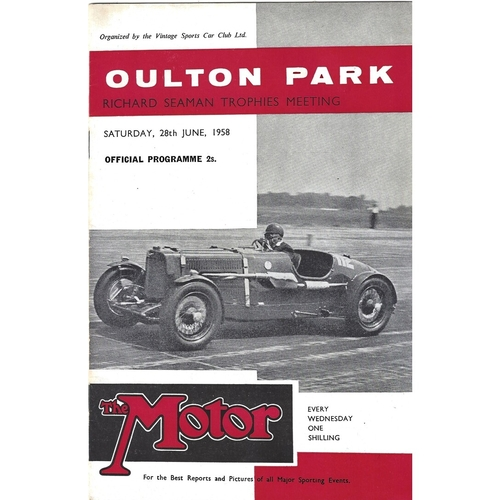 1958 Oulton Park Richard Seaman Trophies Meeting (28/06/1958) motor racing programme