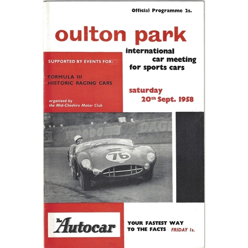 1958 Oulton Park International Sports Car Meeting (20/09/1958) motor racing programme