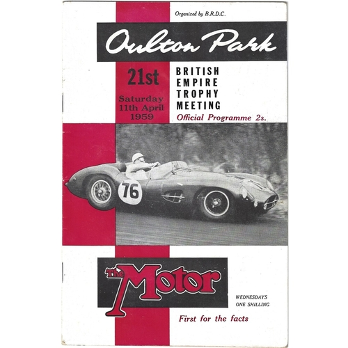 1959 Oulton Park British Empire Trophy Meeting (11/04/1959) motor racing programme