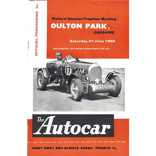1959 Oulton Park Richard Seaman Trophies Meeting (27/06/1959) motor racing programme
