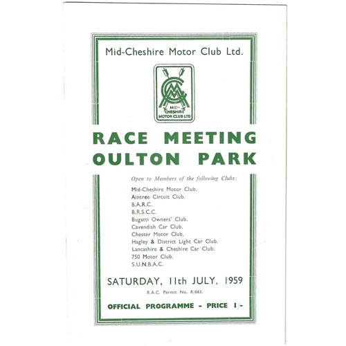 1959 Oulton Park Mid-Cheshire Motor Club Meeting (11/07/1959) motor racing programme