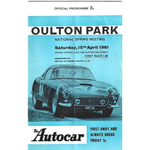 1961 Oulton Park National Spring Meeting (15/04/1961) motor racing programme