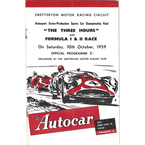 Snetterton Motor Racing Programmes