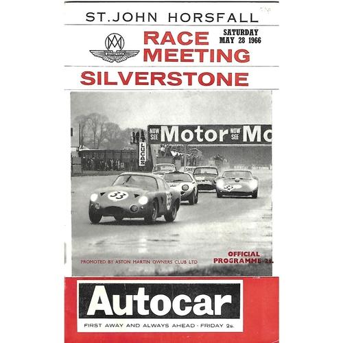 1966 Silverstone St. John Horsfall Race Meeting (28/05/1966) Motor Racing Programme