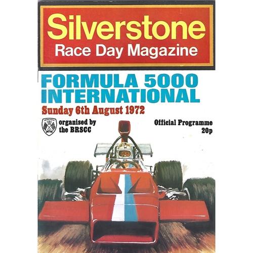 1972 Silverstone Formula 5000 International Race Meeting (06/08/1972) Motor Racing Programme
