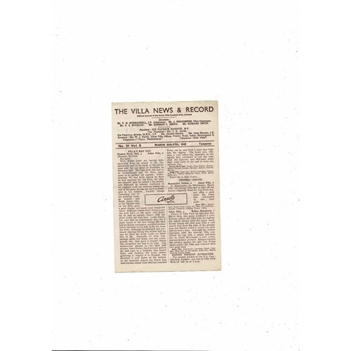 1947/48 Aston Villa v Portsmouth & Chesterfield Reserves Football Programme