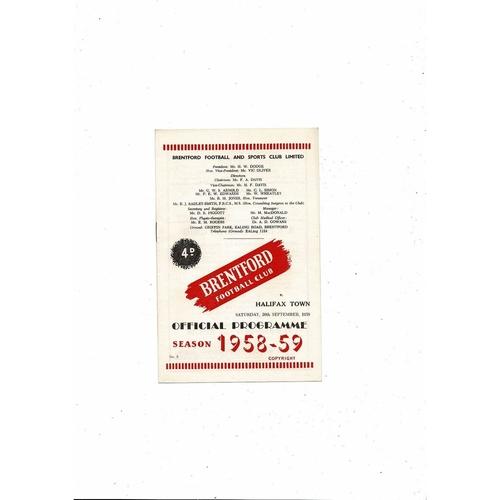 1958/59 Brentford v Halifax Town Football Programme