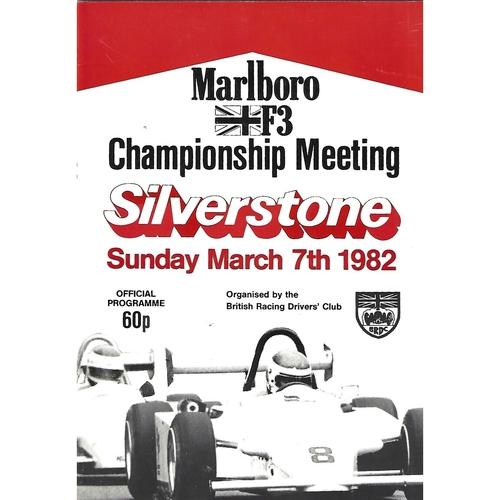 1982 Silverstone F3 Championship Meeting (07/03/1982) Motor Racing Programme