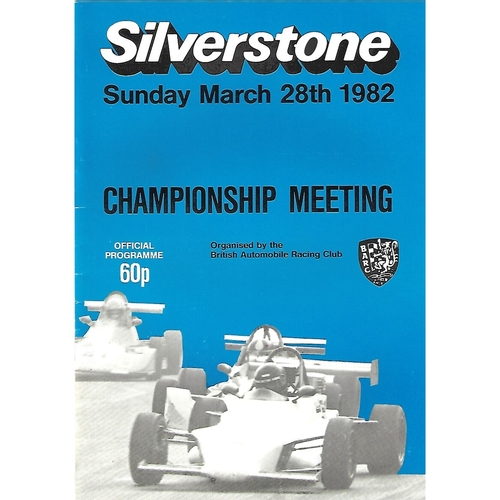 1982 Silverstone Championship Meeting (28/03/1982) Motor Racing Programme