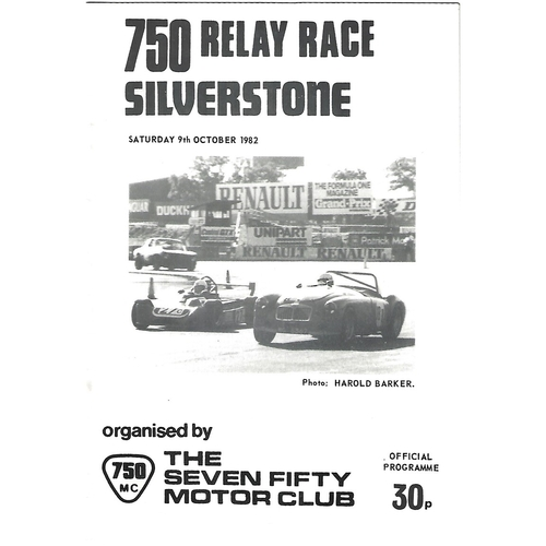 1982 Silverstone 750 Relay Race (09/10/1982) Motor Racing Programme